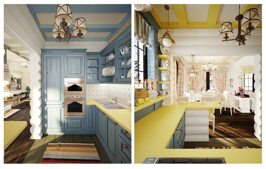 Кухня гостиная Фото В Деревянном Доме