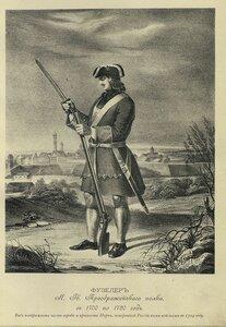 158. ФУЗЕЛЕР Л.-Гв. Преображенского полка, с 1700 по 1720 год. Вид изображает часть города и крепости Нарвы, покоренной Российскими войсками в 1704 году.