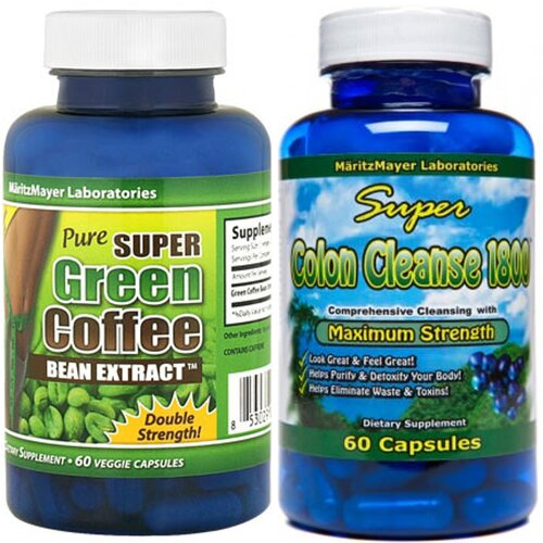 PURE GREEN COFFEE BEAN EXTRACT & SUPER COLON CLEANSE 1800 WEIGHT LOSS