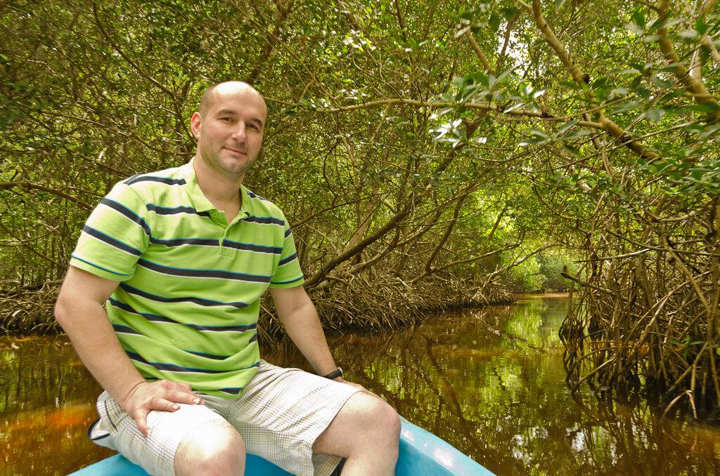 В мангровом лесу в национальном парке Селестун (Celestun) в обычное время лежат на корнях кустов крокодилы... Мы, к сожалению, их не увидели. Самостоятельная экскурсия. Отзывы о поездке в Мексику в ноябре