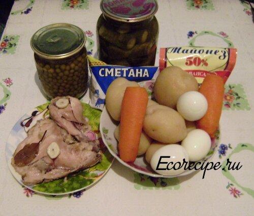 Ингредиенты для приготовления классического салата Оливье