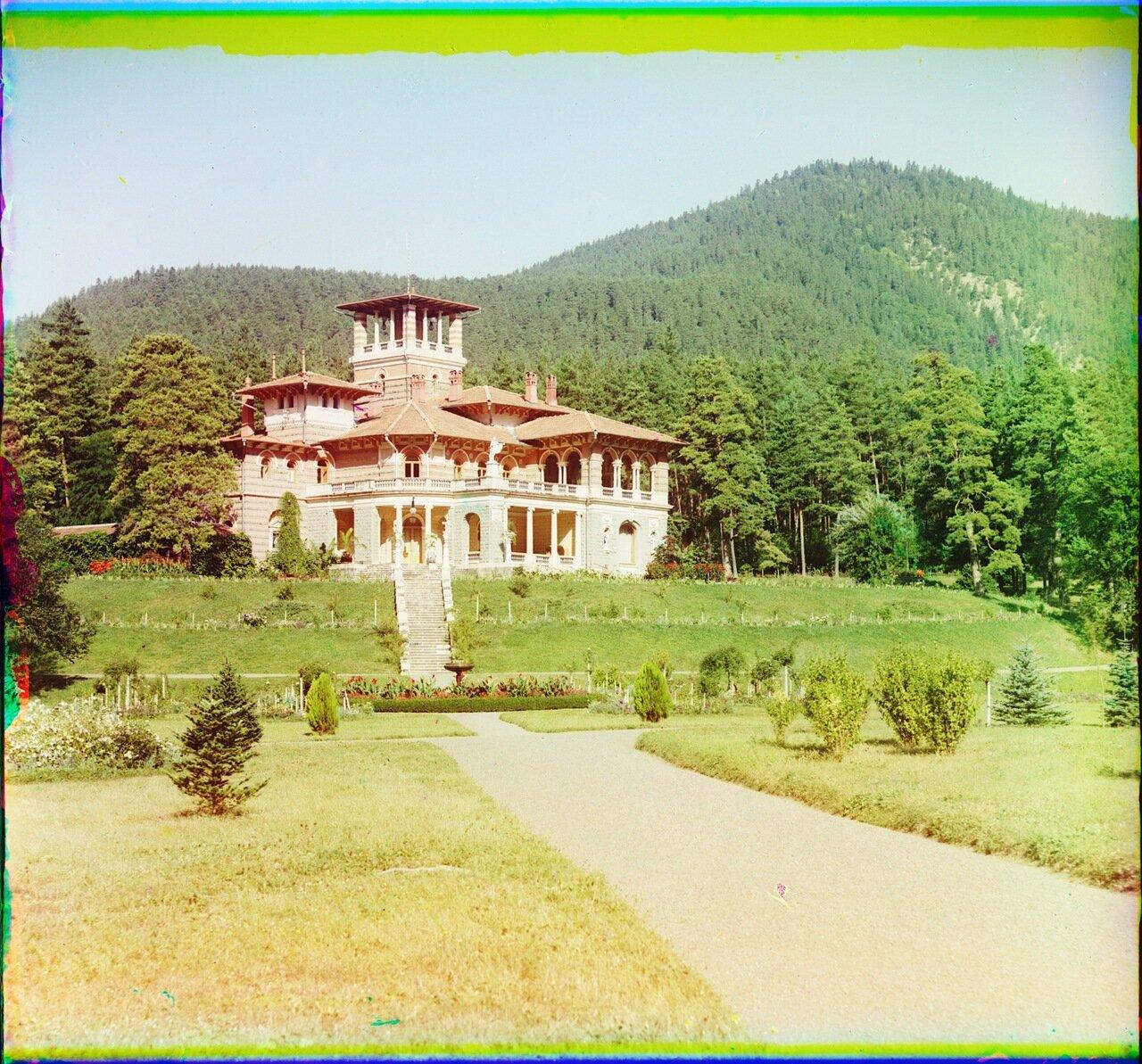 Общий вид Ликанского дворца от р. Куры. Боржом