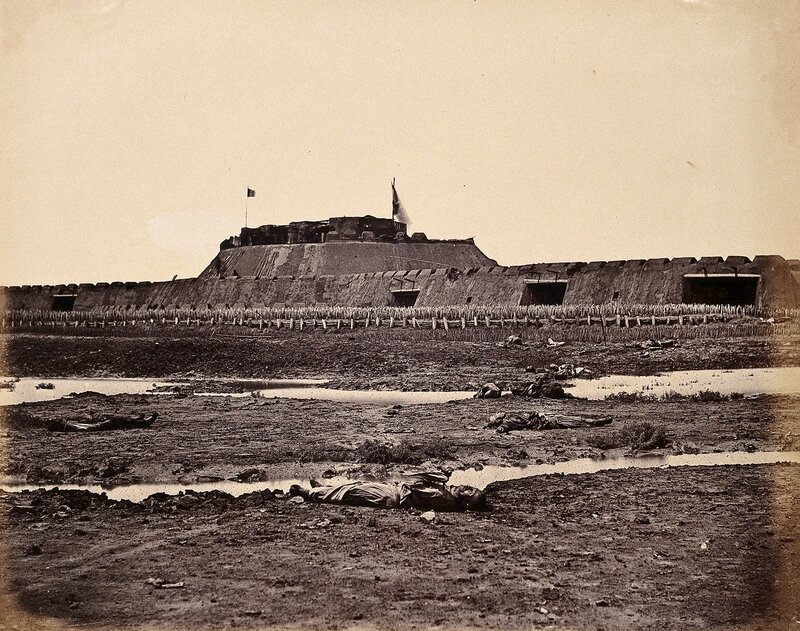 V0037625 Rear view of the North Fort of Taku on the Peiho River