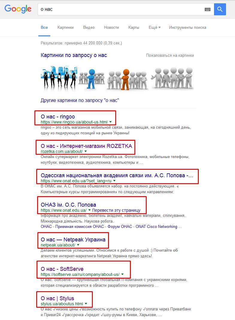 поисковые запросы страницы о вас (о компании)
