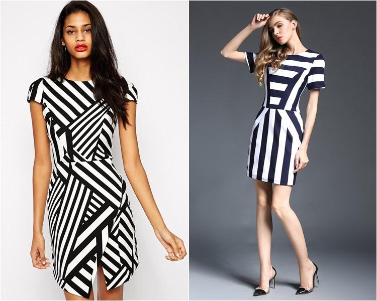 полосатые деловые платья 2016
