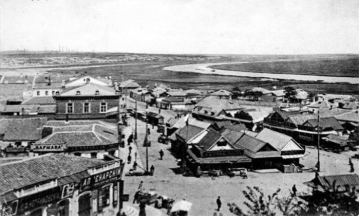 View of the Kalmius River from the marketplace at Mariupol, 1900-10's