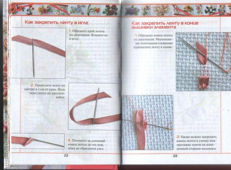 Как закрепить ленту в конце вышивки лентами 90