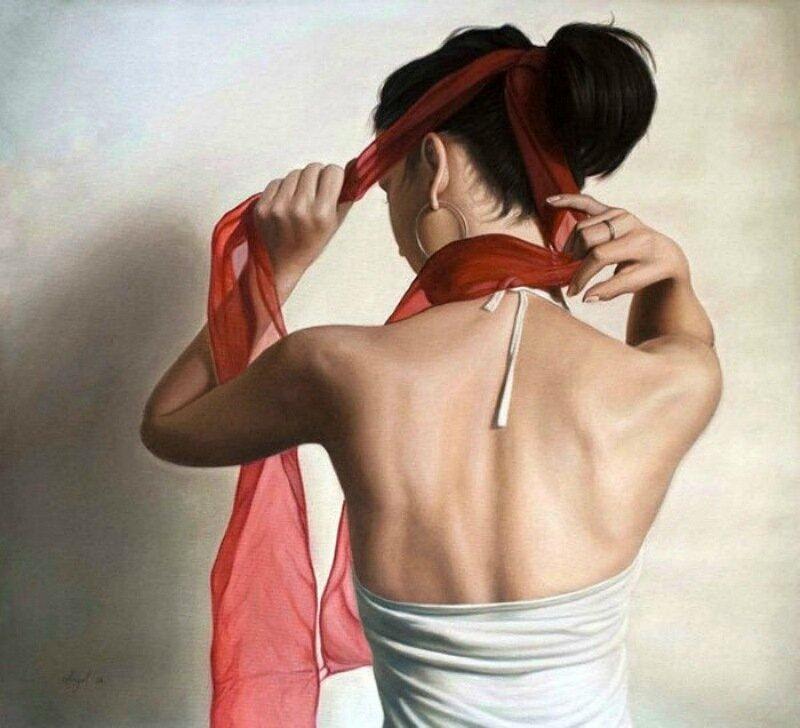 Женщина в красном розы окраска. Художник из Болгарии Angel Peychinov