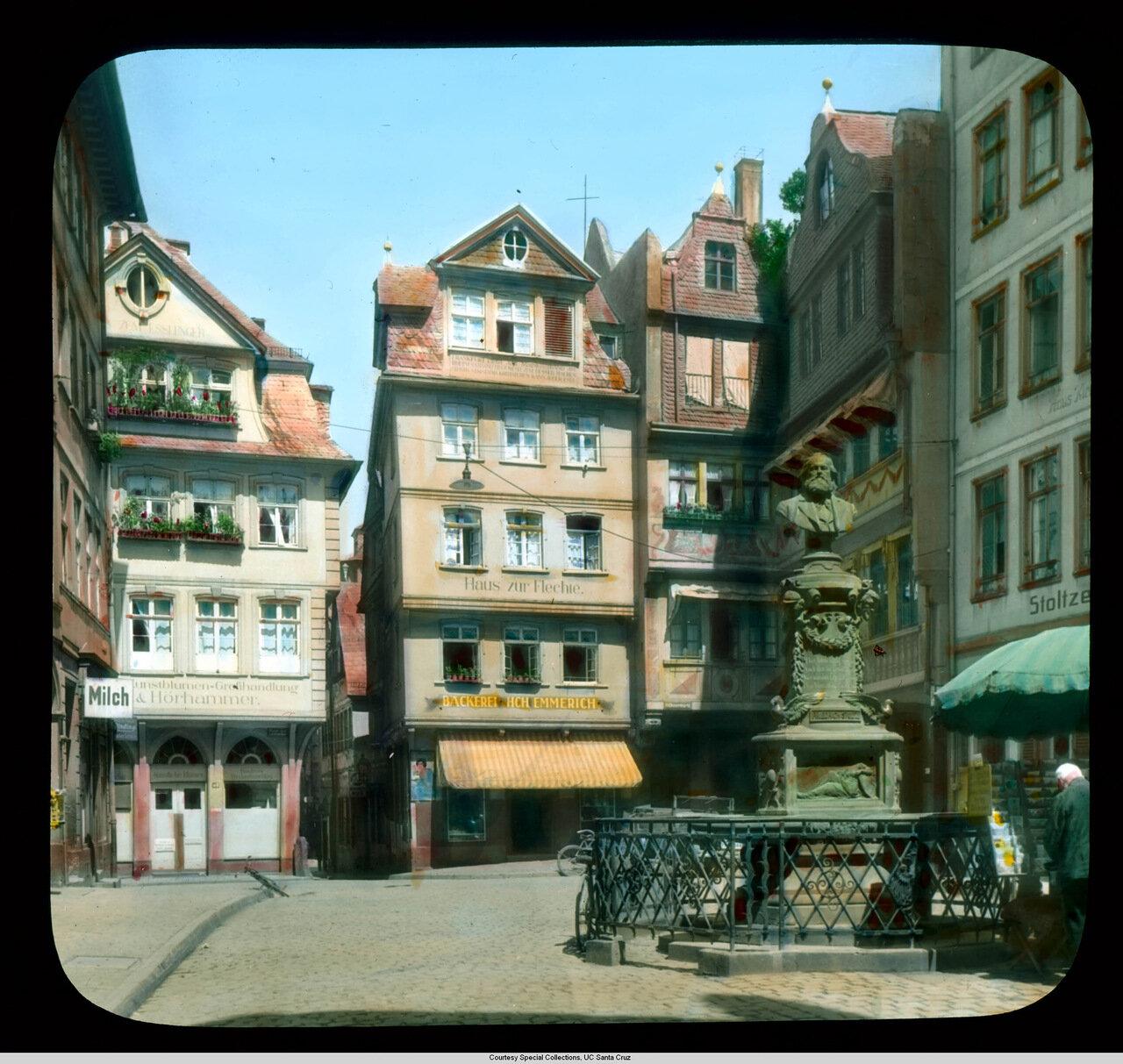 Франкфурт-на-Майне. Птичий рынок и памятник Фридриху Штольцу (разрушен во Вторую мировую)