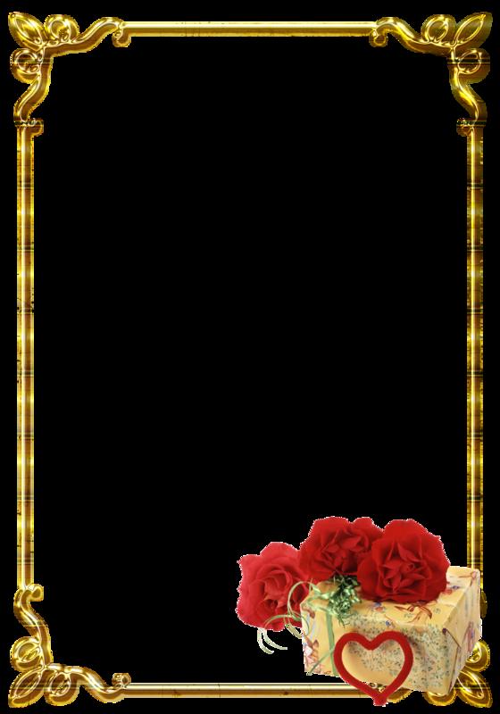 【免抠PNG素材篇】漂亮的金色与玫瑰花装饰框 - 浪漫人生 - .