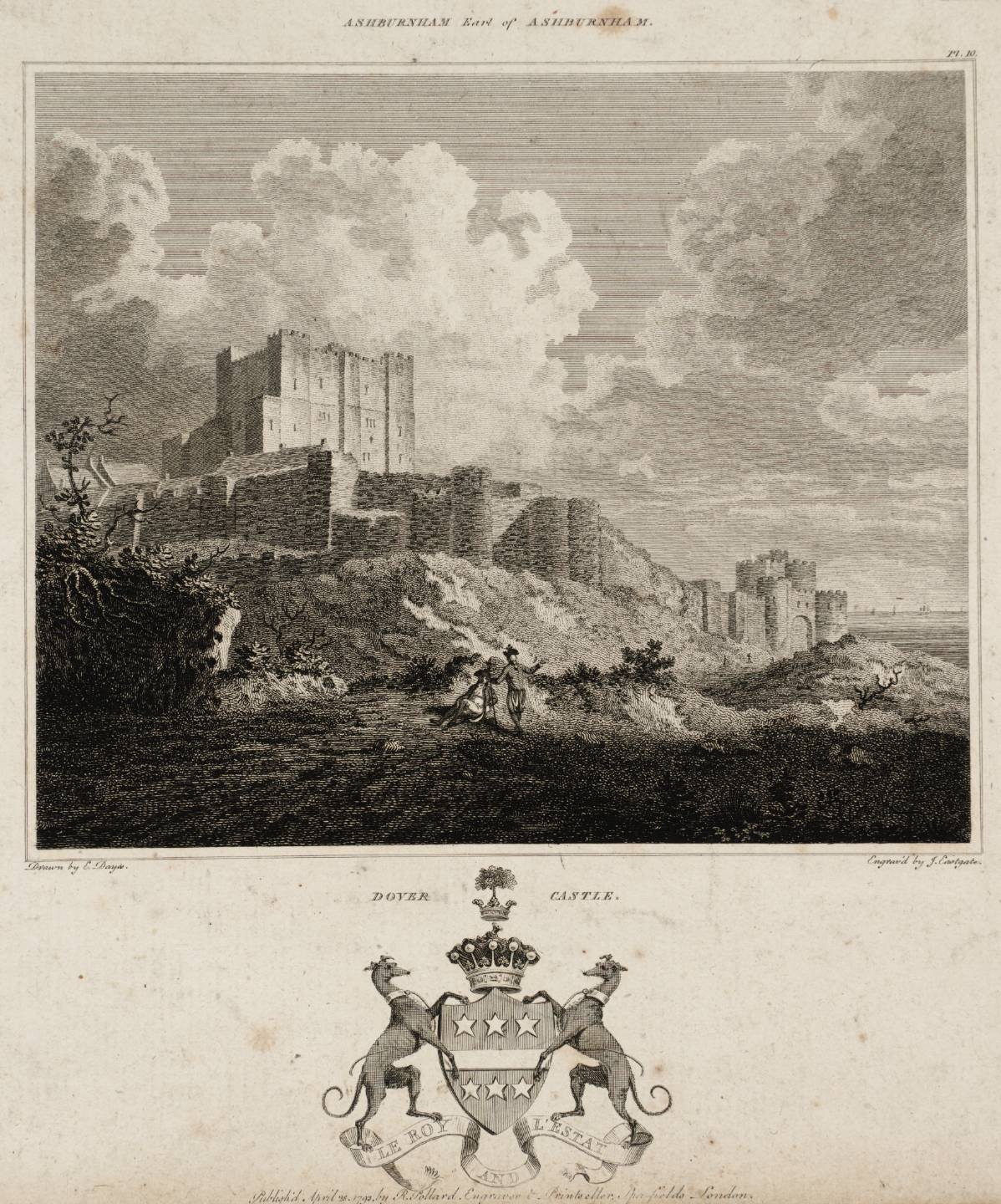 Dover Castle, engraved by J. Eastgate published 1793 by Edward Dayes 1763-1804
