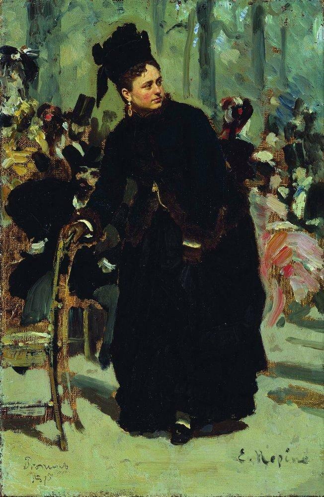 Дама, опирающаяся на спинку стула. 1875.jpg