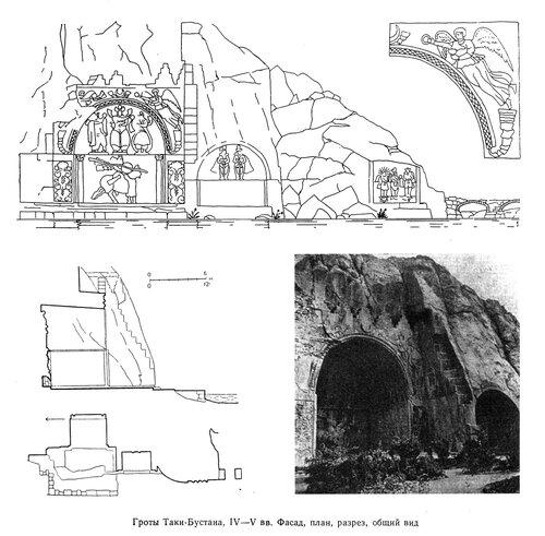 Гроты Таки-Бустана, план, разрез, общий вид