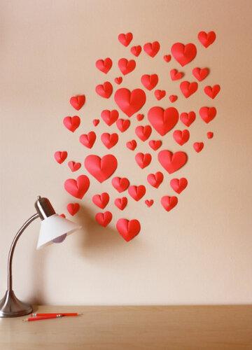 3Д сердца на стене