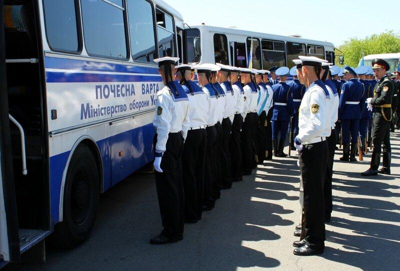 Автобусы почетного караула Министерства обороны Украины