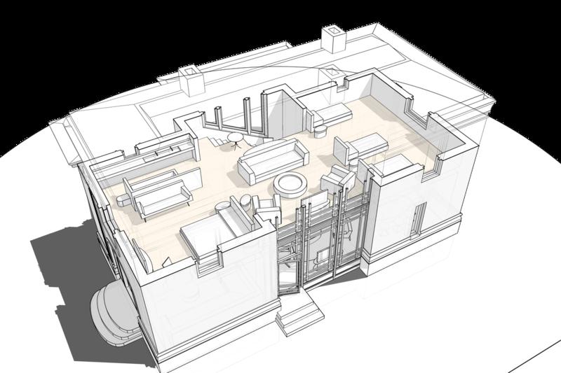 План второго этажа с расстановкой мебели, в жилом доме с площадью застройки по фундаменту 68 квадратных метров.