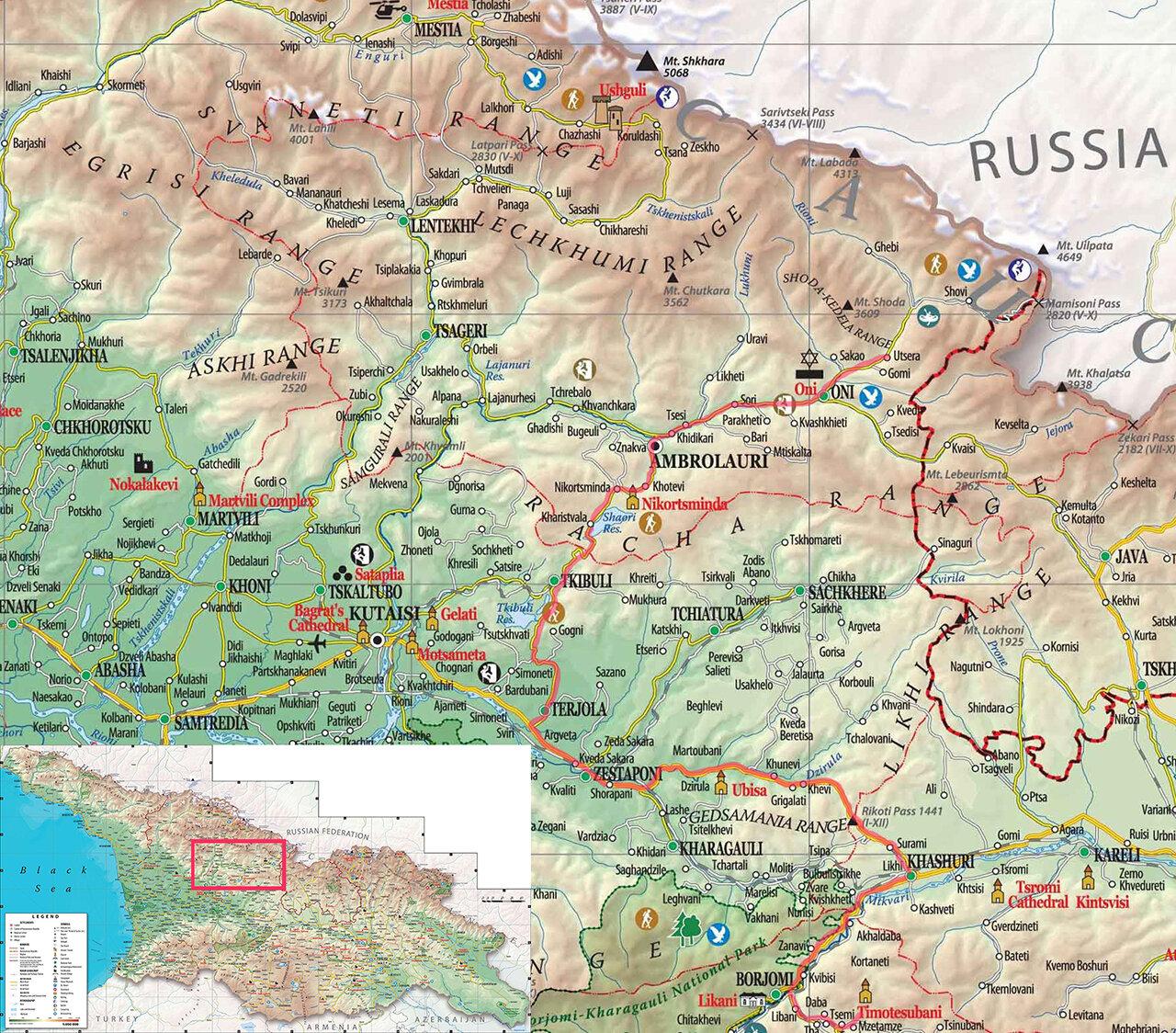 Карта нашей дороги из Тимотесубани в Рачу