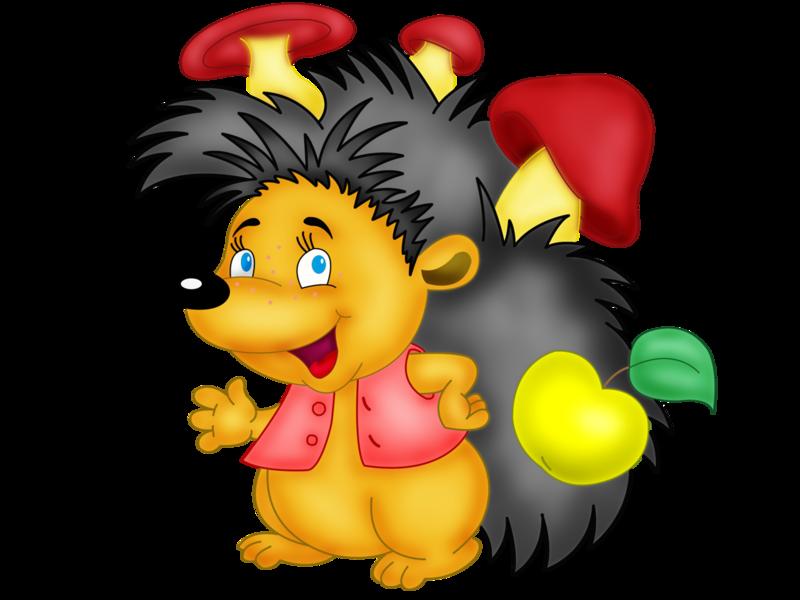 Картинка ежик с грибочком для детей