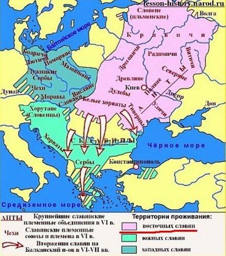 Карта славянских родов VI век н.э.