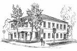 """Дом Ивана Каубиша, где размещалась гостиница """"Петербургская"""". Худ. В. Ухин."""