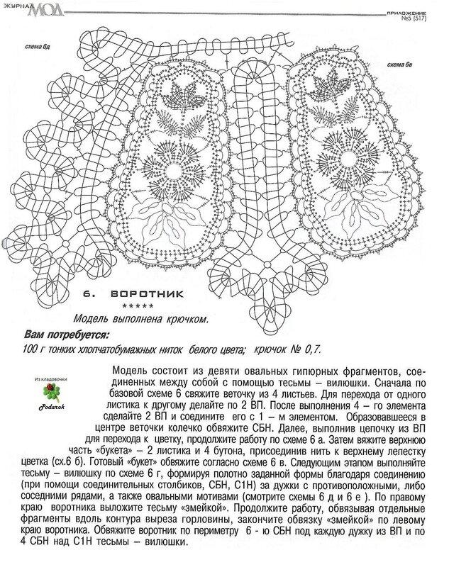 Вязание кружевных воротников схемы