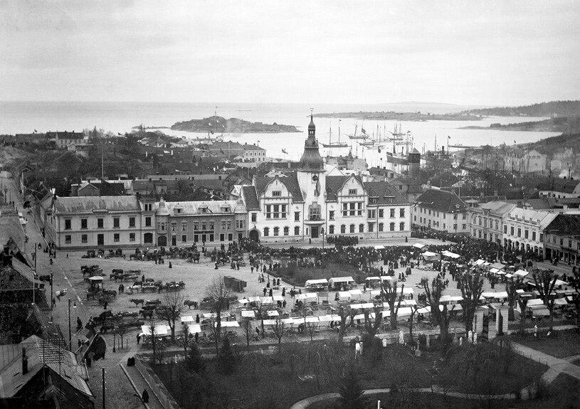 Площадь Карлсхамн, Швеция Торжественное открытие новой ратуши, 1900 год
