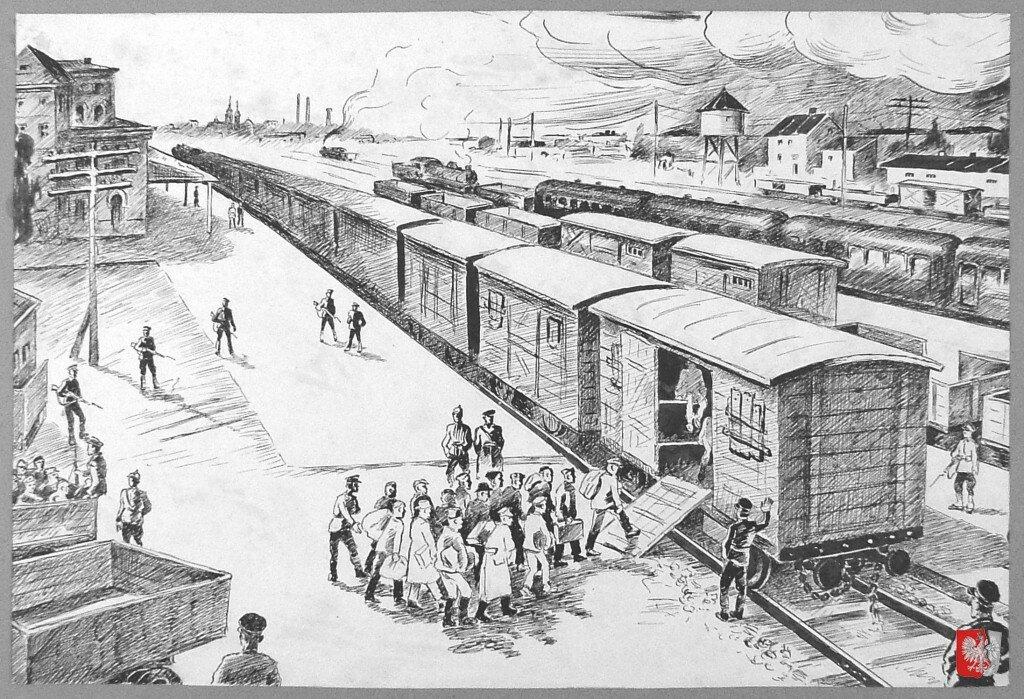 Депортированных из польского города согнаны в НКВДшные вагоны для перевозки скота