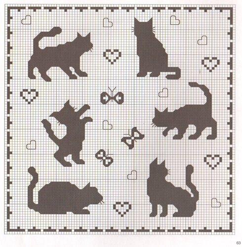 Вышивка монохром с кошками- 1