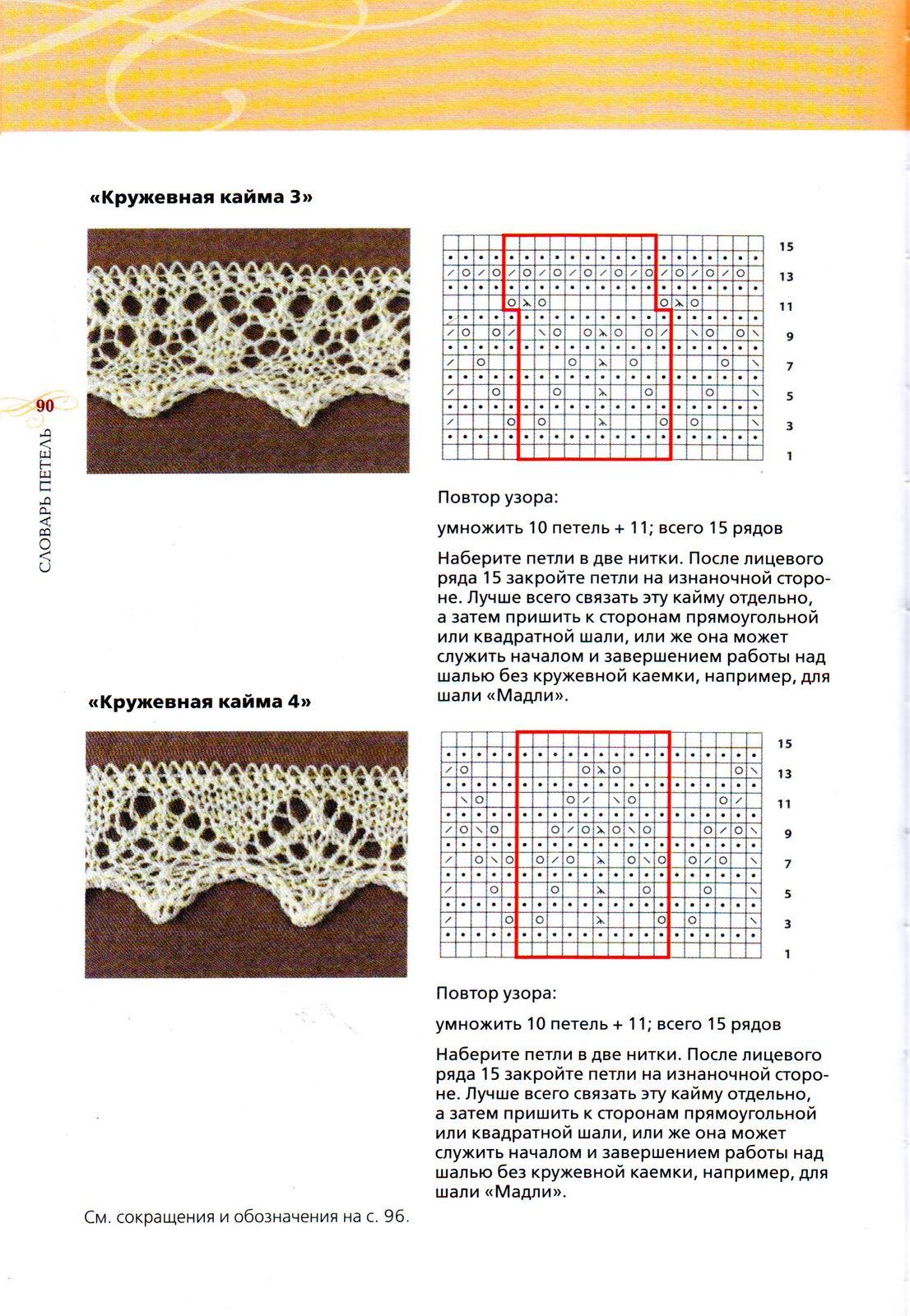Узоры для вязания на спицах ажурные на шали 77