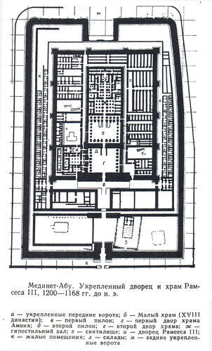 Дворец и храм Рамсесса III в Мединет Абу, план