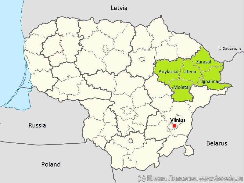 Литва. Карта Озерного края