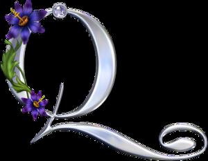 Красивый серебряный английский алфавит с цветами