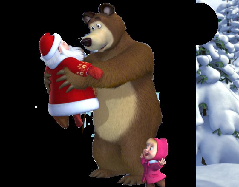 Маша и медведь новый год картинки на белом фоне