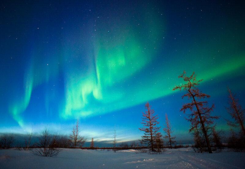 Сверкающее многоцветное сияние на небе... Величие и восторг!