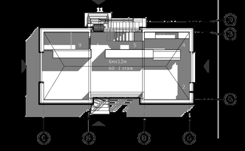 План первого этажа, жилой двухэтажный кирпичный дом, 68 кв.м.