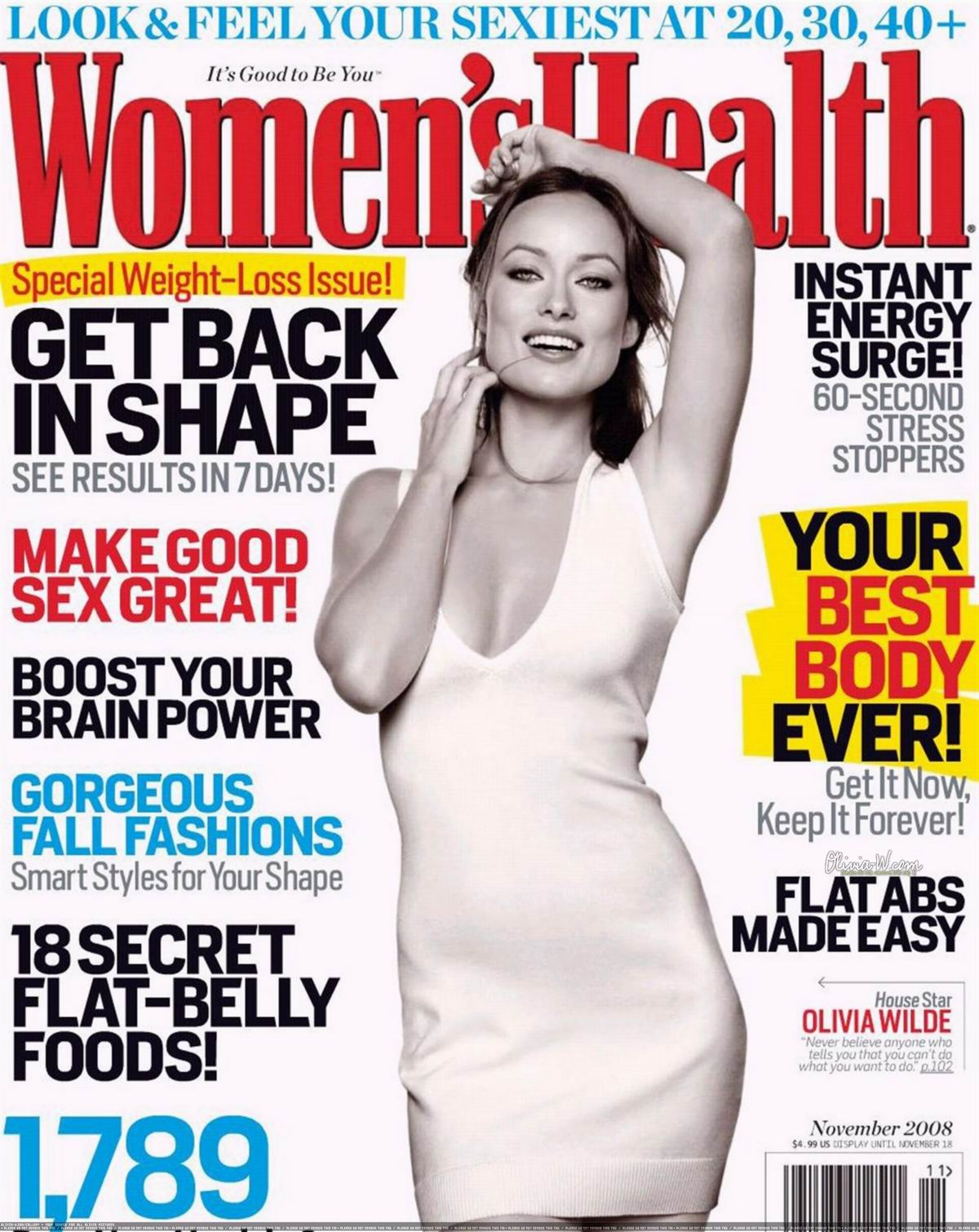Оливия Уайлд (Olivia Wilde) фото в журнале Women's Health, ноябрь 2008