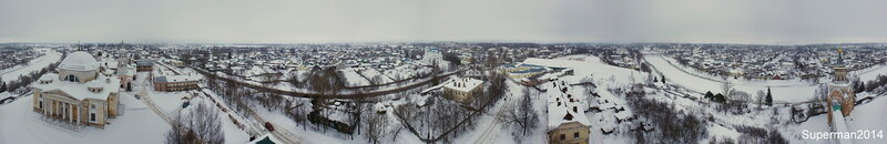 Торжок, вид на город с колокольни Борисоглебского монастыря