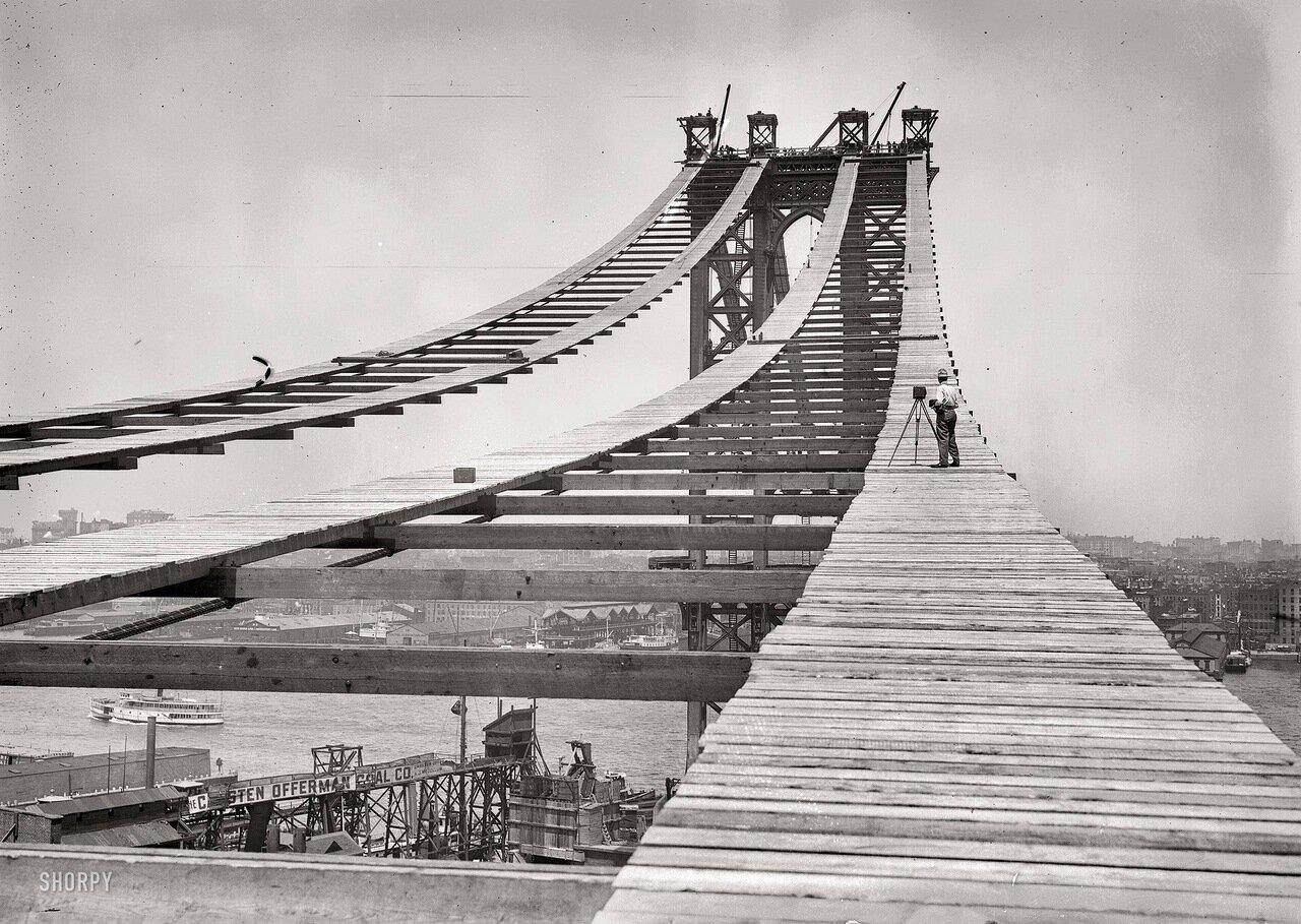Манхэттенский мост во время строительства. 15 июля 1908 г.