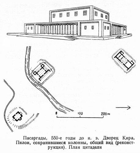Дворец Кира Великого в Пасаргадах, чертежи