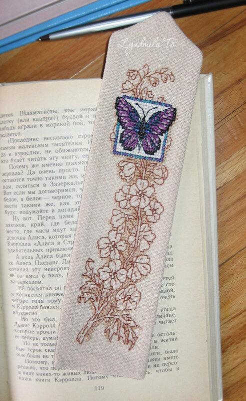 Butterfly Bookmark, закладка, закладка бабочка, вышивка крестиком, Людмила Цапенко, Lyudmila Ts., светящиеся в темноте ниточки, цветы, вышивальная графика