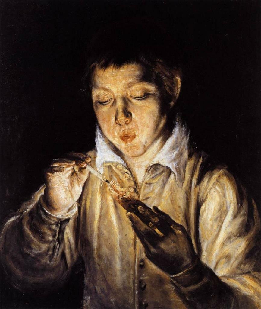 Мальчик раздувающий тление, чтобы зажечь свечу (Дующий), 1570-72__ Эль Греко (1541-1614)
