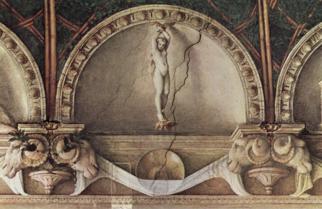 Корреджо-Потолочная фреска в женском монастыре Сан Паоло в Парме, люнет, плененная Юнона.jpg