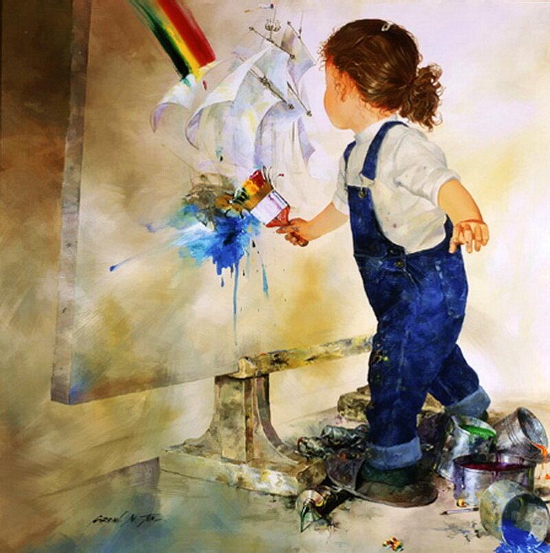 Юный художник открытка, надписи