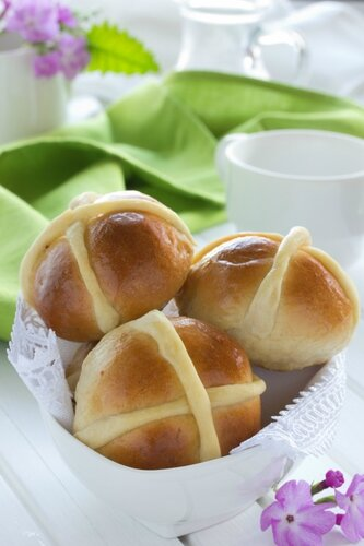 Easter buns with a cross.