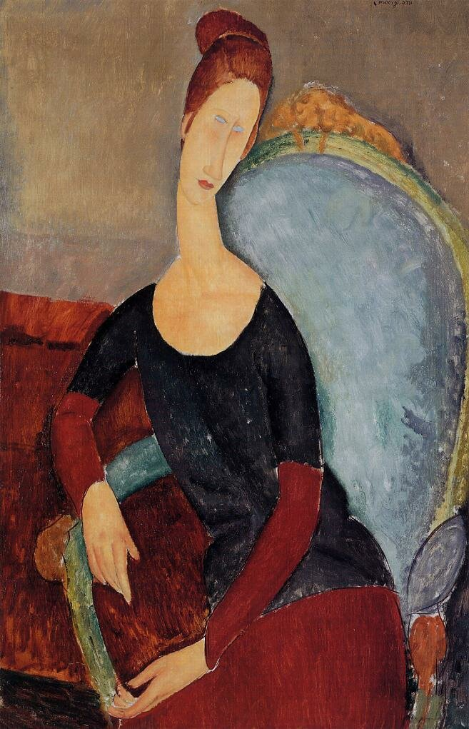 Portrait of Jeanne Hebuterne Seated in an Armchair - 1918 - PC - Painting - oil on canvas.jpeg