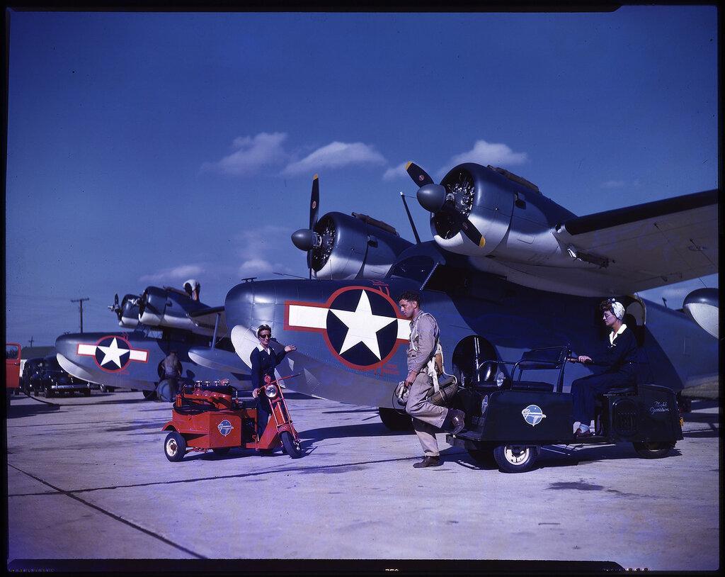 Two Grumman JRF Goose aircraft on the ground at the Grumman Aircraft facility on Long Island, NY, circa 1943