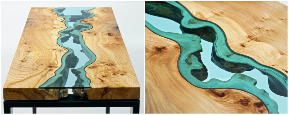 Художник идизайнер мебели Greg Klassen создал вот такой стильный стол, через который протекает река