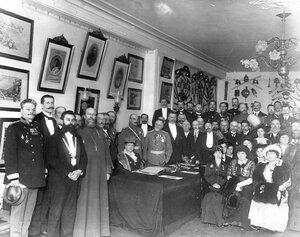 Открытие нового помещения пожарного общества ( за столом сидит великая княгиня Мария Павловна).