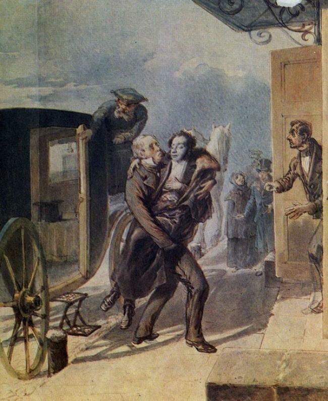 П.Ф.Борель. Возвращение Пушкина с дуэли. 1885 г..