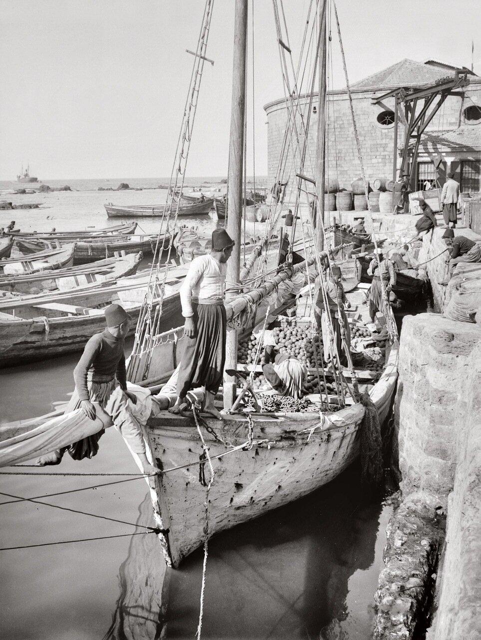 Лодка, груженная апельсинами. Яффо, Палестина. 1900-1920 гг.
